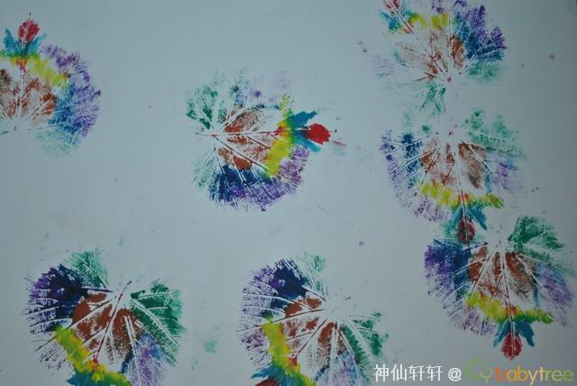 树叶拓画-叶子拓印画