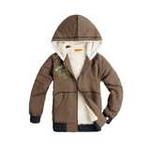 加菲猫男童针织连帽厚夹克GJWE095702沼泽绿110