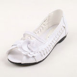 兔仔唛TUZAMA新款女童皮鞋编织玫瑰花公主鞋白色35码