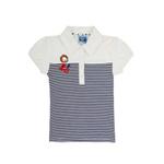 加菲猫女童polo领条纹短袖T恤GTWE045202深海蓝条140