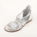 兔仔唛TUZAMA大女童新款罗马水钻公主凉鞋银色32码