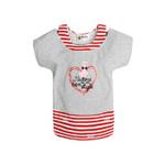 童壹库女童针织假两件短袖T恤KTWF035202花灰红白条120