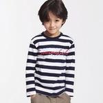 派克兰帝星男童时尚双色圆领T恤PUWE085303海军蓝白条130