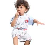 小素材男宝宝夏款满天星螺纹个性短袖套装4551/酒红色/73