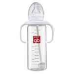 好孩子仿真乳感标准径握把吸管玻璃奶瓶+魔术仿胀气B80003-240ml