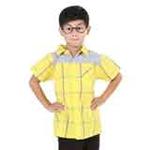 凡兜童装男童平织短袖衬衫171221110黄色/160