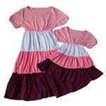 雪精灵亲子装连衣裙X2-1219粉紫色/妈妈款L
