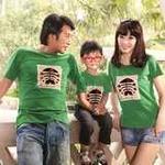 爱湾夏款绿色圆领鱼骨头图案T恤亲子童装90码