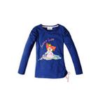 童壹库摩尔系列女童泡泡袖长袖T恤MUWF015201深海蓝120