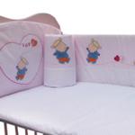 婴妮儿温馨时刻婴儿床品床围6件套全面绣花/粉色(预付款)