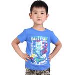 雪精灵男童短袖T恤X1-72003彩蓝色/120