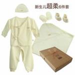 素棉宝贝J208新生儿衣服用品6件套礼盒59(棉本色提花)