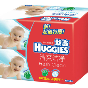 好奇清爽洁净婴儿柔润湿巾80抽补充装*2